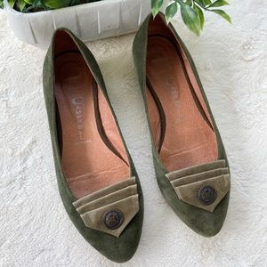 Jeffery Campbell olive green suede reagle flats